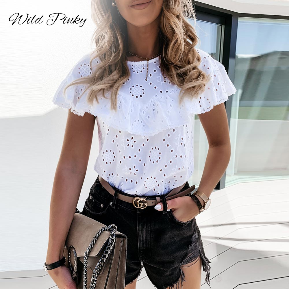 WildPinky Elegant White O-neck Blouse Shirt Ruffles Hollow Out Embroidery Feminine Blouse Women Short Sleeve Summer Tops Female