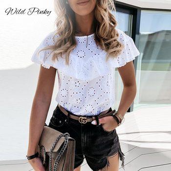 WildPinky Elegant White O-neck Blouse Shirt Ruffles Hollow Out Embroidery Feminine Blouse Women Short Sleeve Summer Tops Female недорого