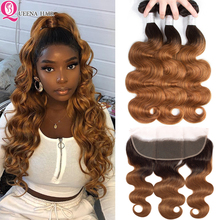 Colored Ombre Human Hair Bundles With Frontal Closure Brazilian Body WaveHair Weave Bundles With Frontal 4 bundles With Frontal