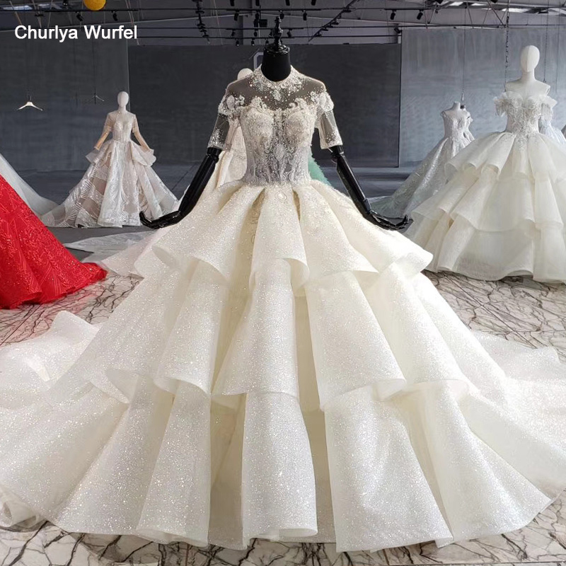 HTL1009 Ball Gown Wedding Dress Plus Size Bead Crystal O-neck Short Sleeves Wedding Gowns For Bride With Sleeve Vestido Novia