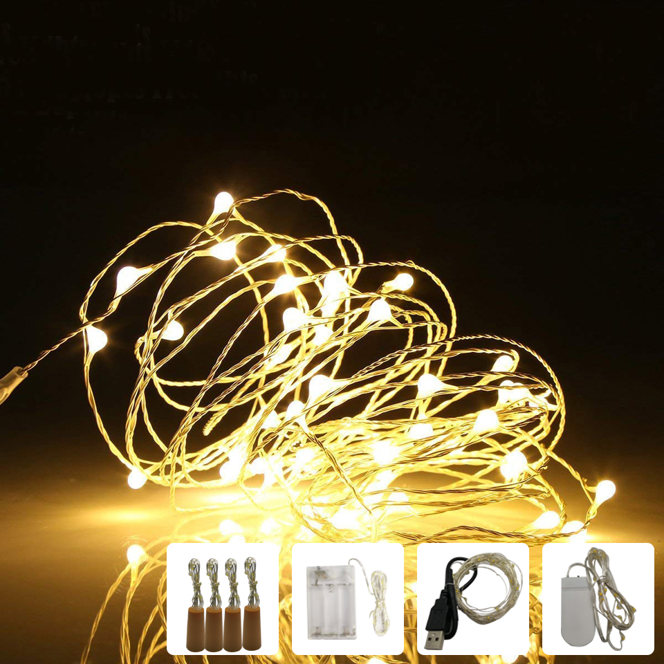 LED String Light 1m 2m 3m 5m 10m Garland Lights Home Christmas Wedding Party Decoration Powered By AA Battery / USB Fairy Lights