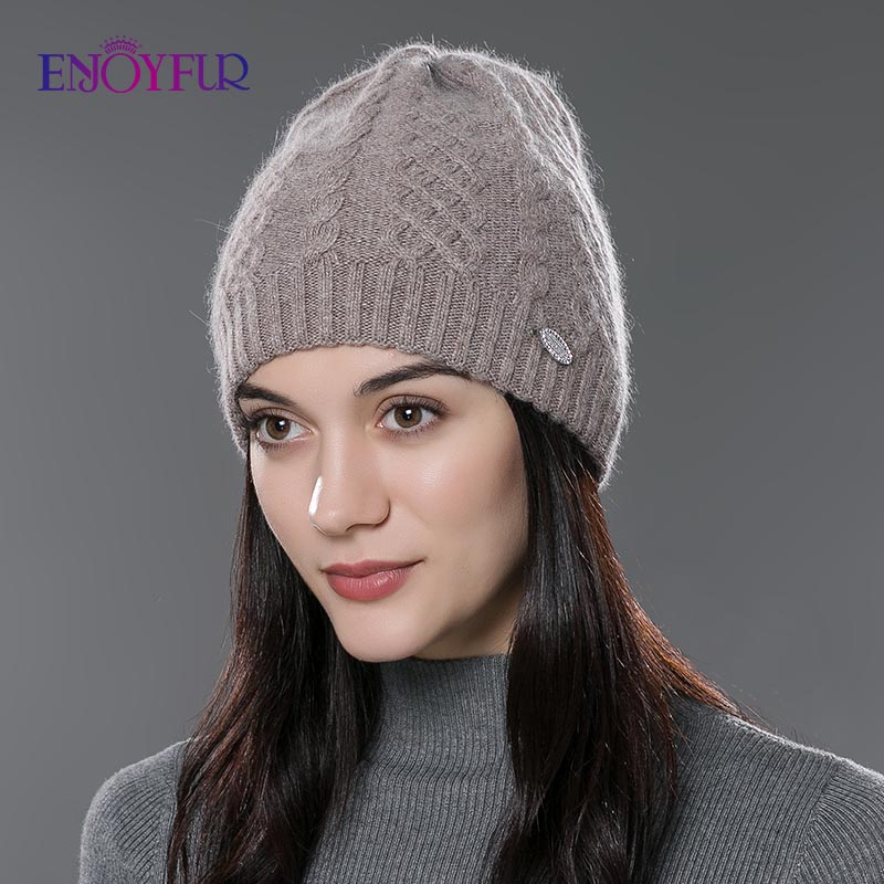 ENJOYFUR Women Autumn Winter Hats  Elastic Knitted Wool Cotton Gorro Solid Multicolors Beanies Cap High-end Cute Casual Hats