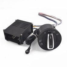 Interruptor de luz cromada automotivo, interruptor com lâmpada cromada, sensor de luz para vw polo 9n 9n3 passat b5.5 transformador sharan 1c0941531/3bd + farol automotivo