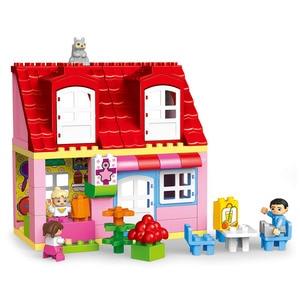 Image 5 - Gorock 78個大型ピンクヴィラ女の子ビッグビルディングブロックセット子供duploe diyレンガと互換性モデルのおもちゃ子供のための