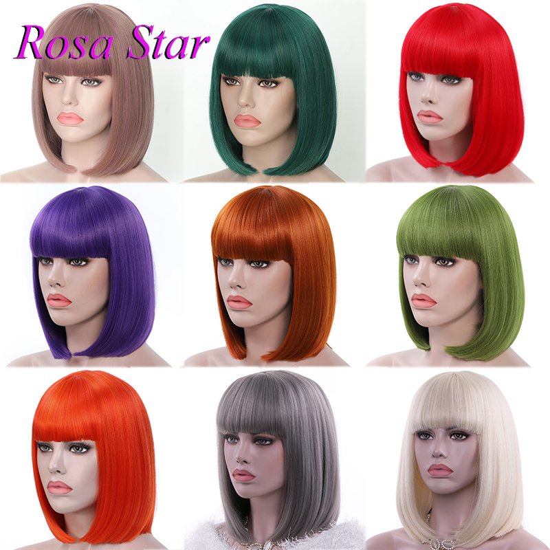 Rosa Star  Synthetic Colorful Bob Wigs With Bangs For Heat Resistant Cosplay Costume Wig 13 Color