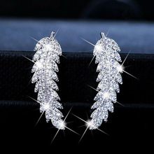 hot selling trendy Leaf real 925 sterling silver  earrings for girl lovers love party gift jewelry drop shipping moonso E5494