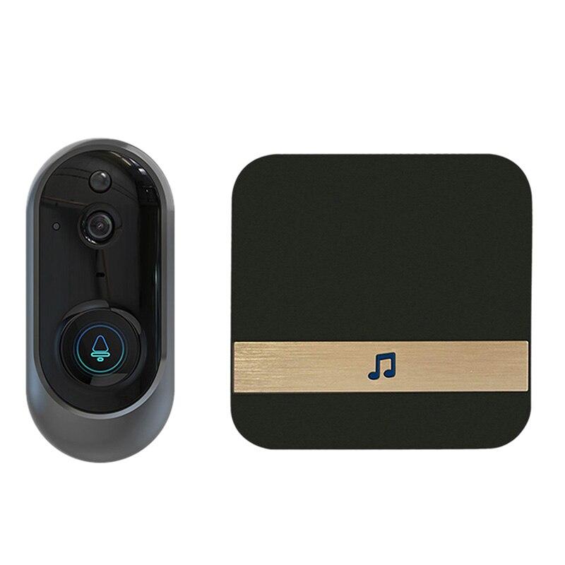 720P Smart Wifi Doorbell Visual Camera Video Intercom Security 166 Degree Pir Motion Detection With Dingdong Receiver(Eu Plug)