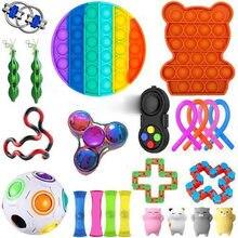 Anti stress fidget brinquedos dedo figet spiner poppit pop ele anéis elásticos peápod espremer animais antistress brinquedo pacote anti estresse