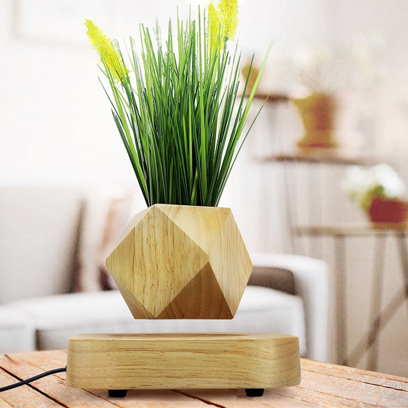 Wood <font><b>magnetic</b></font> levitation flowerpot levitating <font><b>Flower</b></font> <font><b>Pot</b></font> Negative ions purify the air floating <font><b>pots</b></font> with artificial plant image