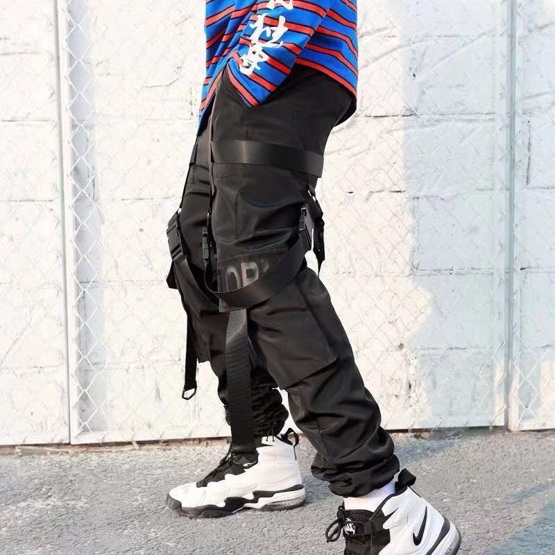 2019 Hip Hop Cargo Pants Pockets Men Streetwear Harajuku Harem Pants Buckle Ribbon Joggers Pants Black HipHop Sweatpants Autumn