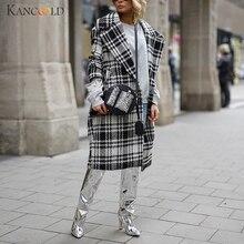 KANCOOLD, Женское зимнее клетчатое модное элегантное пальто с принтом, пальто с длинным рукавом, пальто Ms. Plaid, средней толщины, прямое кашемировое пальто