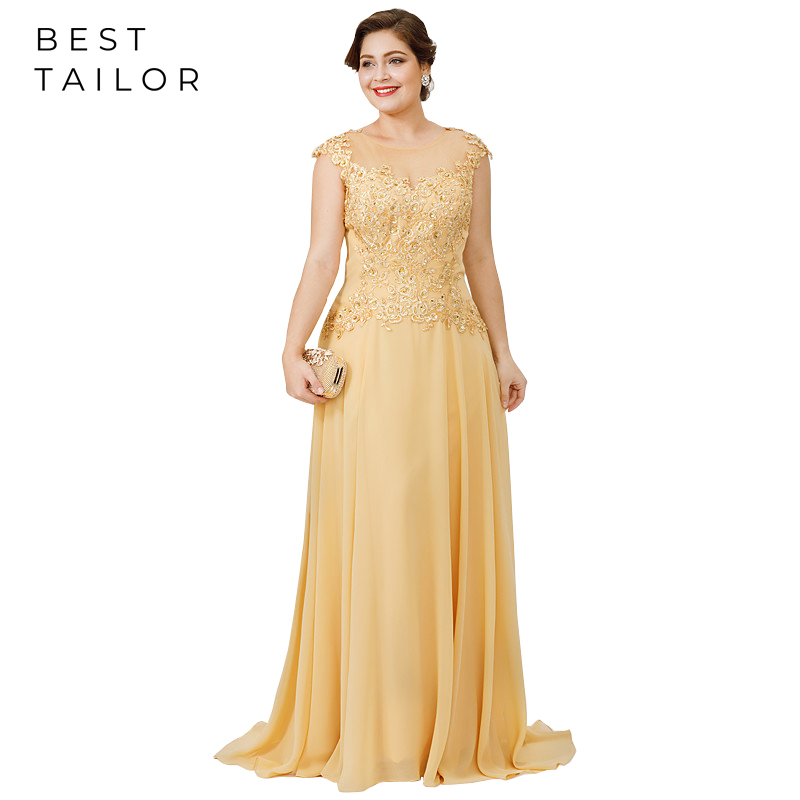 Gold Mother Of The Bride Dresses For Weddings Full Length A-Line Plus Size Brush Sheer Neck Elegant Wedding Guest Gowns Madrinha