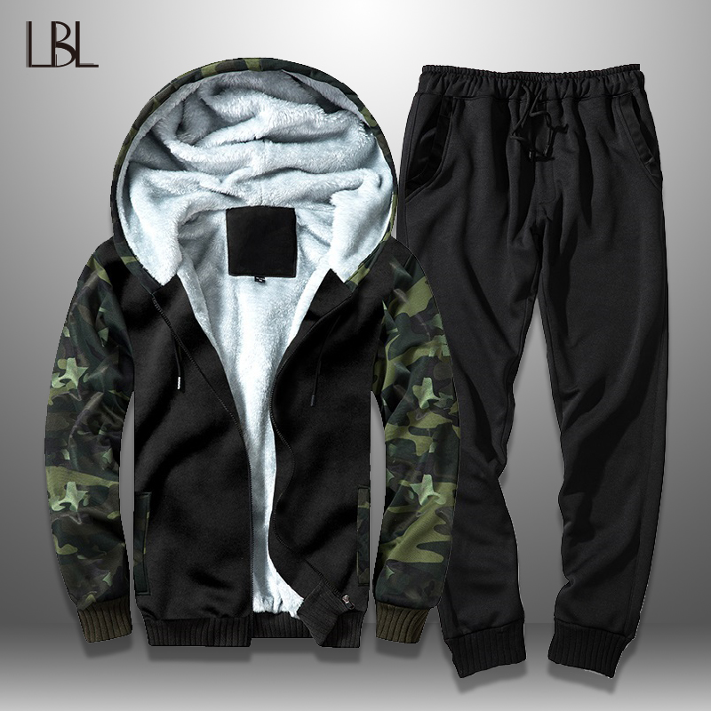 Winter Thick Men Tracksuit Camouflage Hoodie Casual Mens Set Sportswear Suits Zipper Fleece Hooded Jackets+Elastic Waist Pants