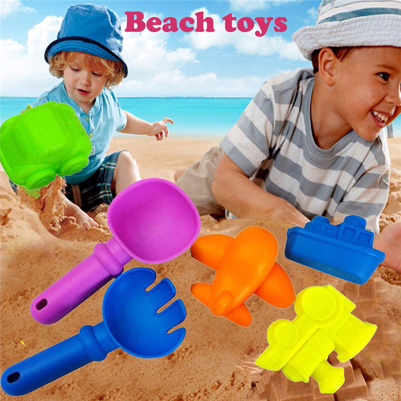 Random Color Summer Sand Sandbeach Kids Plastic Beach Toys 6Pcs Car Aircraft Spade Shovel Rake Water Tools Sets Fun Beach Toy