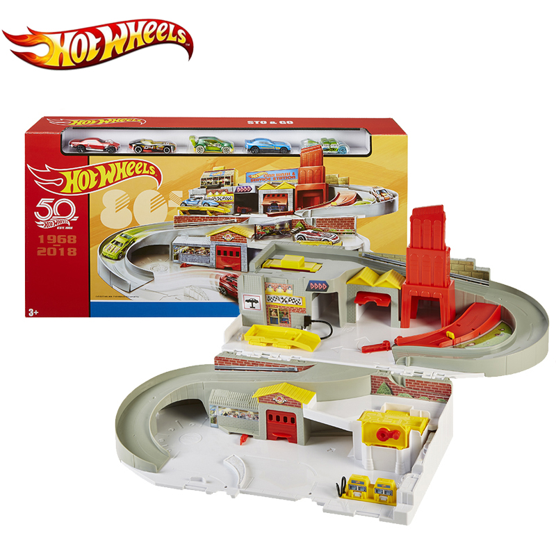 Original Hot Wheels Brand Throwback Sto & Go Play Set FTC98 Car Park Tracking Building Kids Toy Gift For Children Birthday