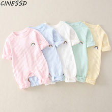 Newborn Infant Kid Baby Boy Girls Long Sleeve Romper Jumpsuit Clothes Outfits Warm Pure Color Cute Lovely Rainbow Clothing 2016 baby boy romper newborn clothing rompers baby clothes college style waistcoat romper infant gentleman romper kid s jumpsuit