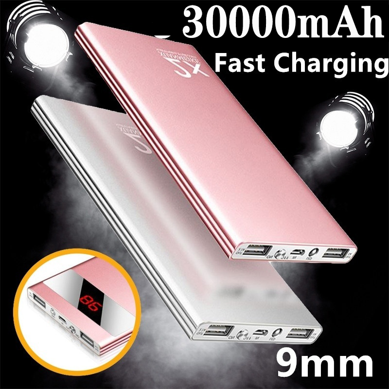 Ultrathin Power Bank 30000mAh Powerbank External Battery Portable Fast Charger For All Smartphone Charger Bank Waterproof