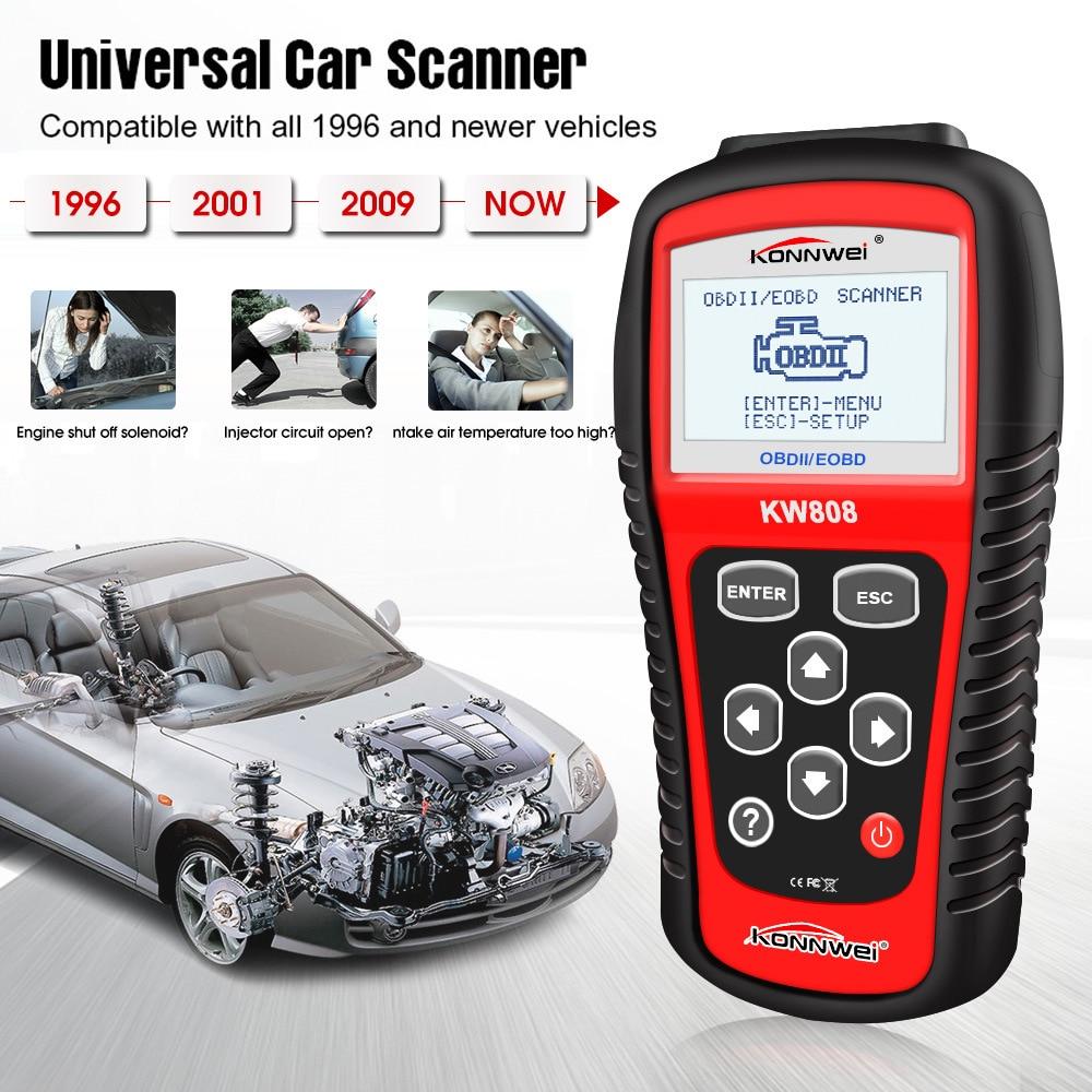 Original KONNWEI KW808 OBD Car Scanner OBD2 Auto Automotive Diagnostic Scanner Tool Supports J1850 Engine Fualt Code Reader Dfdf