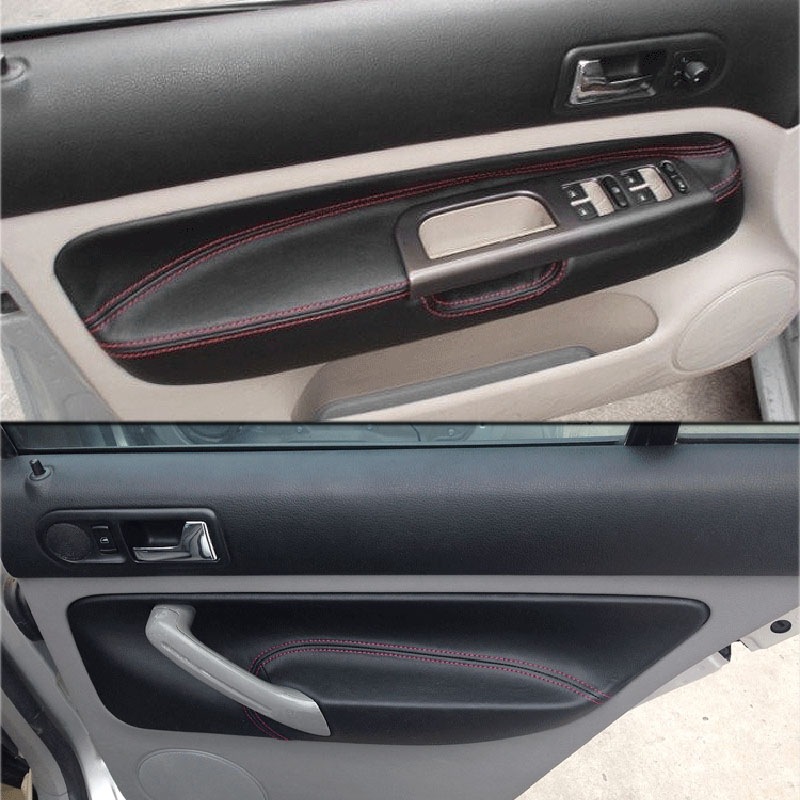 For Volkswagen MK4 Bora Golf 4 4pcs Car Door Armrest Panel Microfiber Leather Surface Cover Trim Protection Set 2002 2006