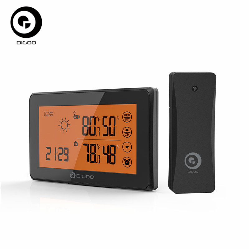 DIGOO Smart Touch Screen LCD Weather Station With Remote Sensor Alarm Clock 12/24h Weather Forecast Temperature Humidity Alarm