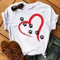 Футболка женская с принтом «Собачья лапа», повседневный модный топ с коротким рукавом, милая рубашка с принтом красного сердца, на лето