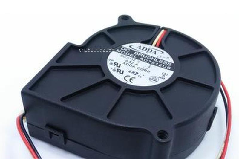 For ADDA 7530 AD7512UB DC12V 0.52A 7CM Three Line Turbo Fan Free Shipping