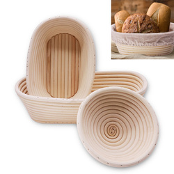 1pcs Round Rattan Bread Proofing Basket With Cover Sourdough Proofing Oval Basket Bread Rising Baskets Bakery