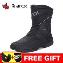 ARCX Stivali Da Moto Uomini Motocross Stivali Impermeabili Botas Moto Genuino Della Mucca In Pelle Moto Scarpe Stivali Da Moto Nero
