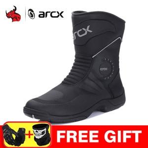 Image 1 - Arcxオートバイモトクロスブーツ防水bota ş モト本物の牛革ブーツオートバイの靴黒