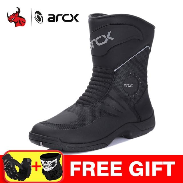 Arcxオートバイモトクロスブーツ防水bota ş モト本物の牛革ブーツオートバイの靴黒