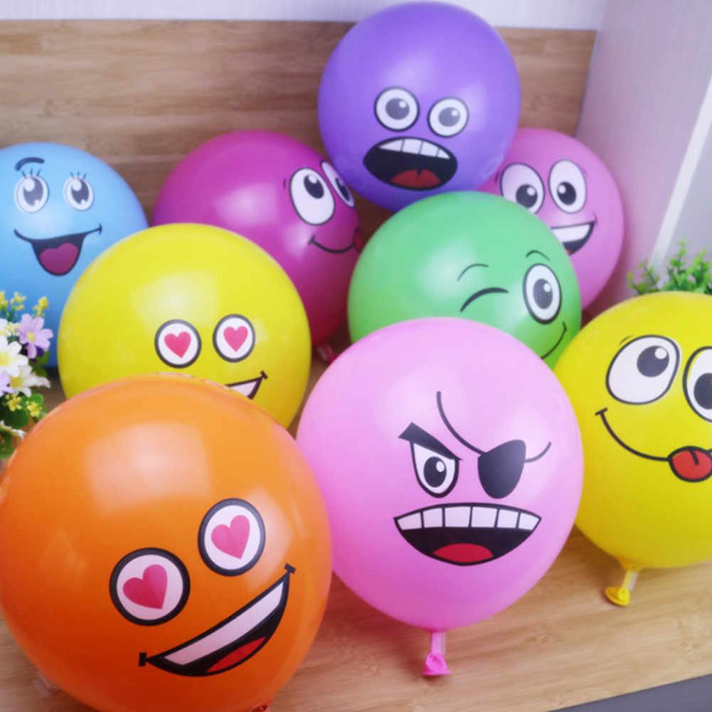 12PCS ตลกน่ารัก Expression น่ารักหน้ายิ้มบอลลูนสำหรับเทศกาลวันเกิดงานแต่งงานตกแต่งบุคลิกภาพการ์ตูนบอลลูน