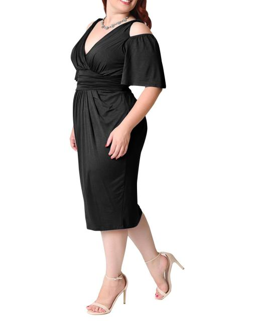 Summer Sexy Midi Dress For Fat Women Plus Size Vintage 4XL 5XL V Neck 6