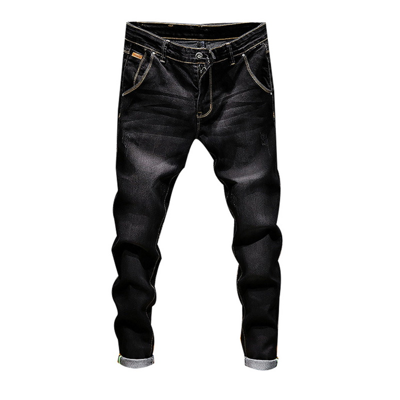 DIHOPE Stretch Denim Pants Solid Slim Fit Jeans Men Casual Biker Denim Jeans Male Street Hip Hop Vintage Trouser Skinny Pant