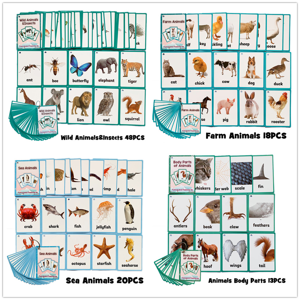 96PCS/set Animal Learning English Flash Cards For Children Montessori Educational Toys Classroom Decoration Memorie Games