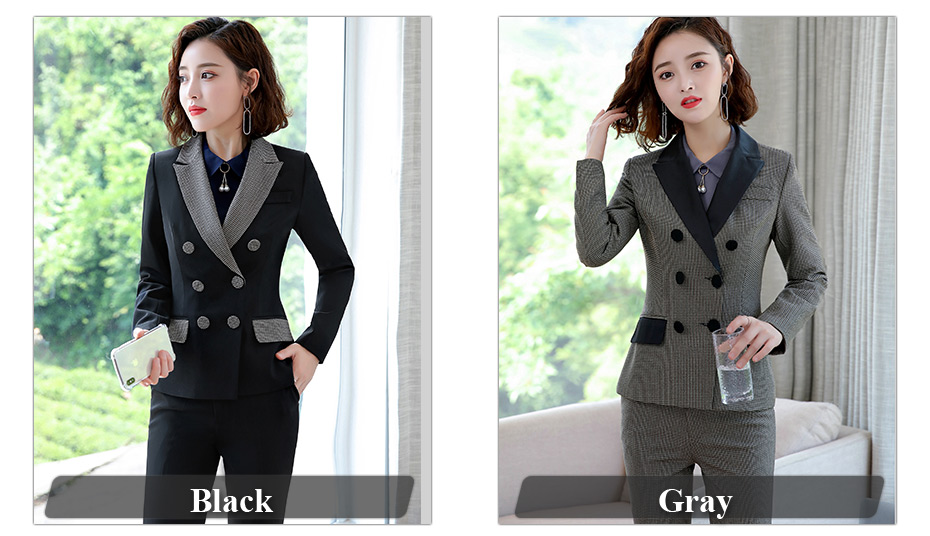 Lenshin High-quality 2 Piece Set Houndstooth Formal Pant Suit Blazer Office Lady Design Women Soft Jacket and Full-Length Pant 30