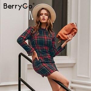 Image 5 - BerryGo eleganckie biuro lady plaid winter dress 2018 z długim rękawem stanąć kołnierz gruba ciepła sukienka z frędzlami moda szczupła kobieta vestido