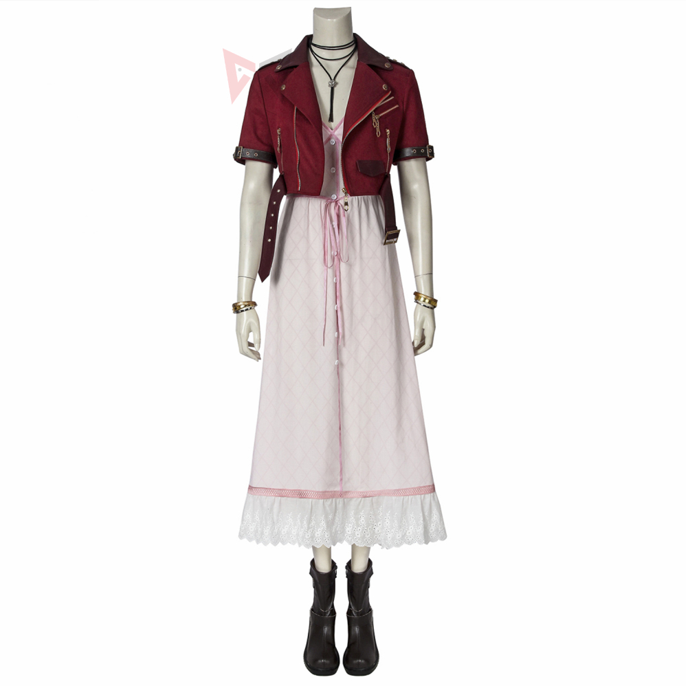 Game Final Fantasy VII Cosplay Aerith Gainsborough Costume Fancy Dress Boots Halloween Set For Women Carnival Adult
