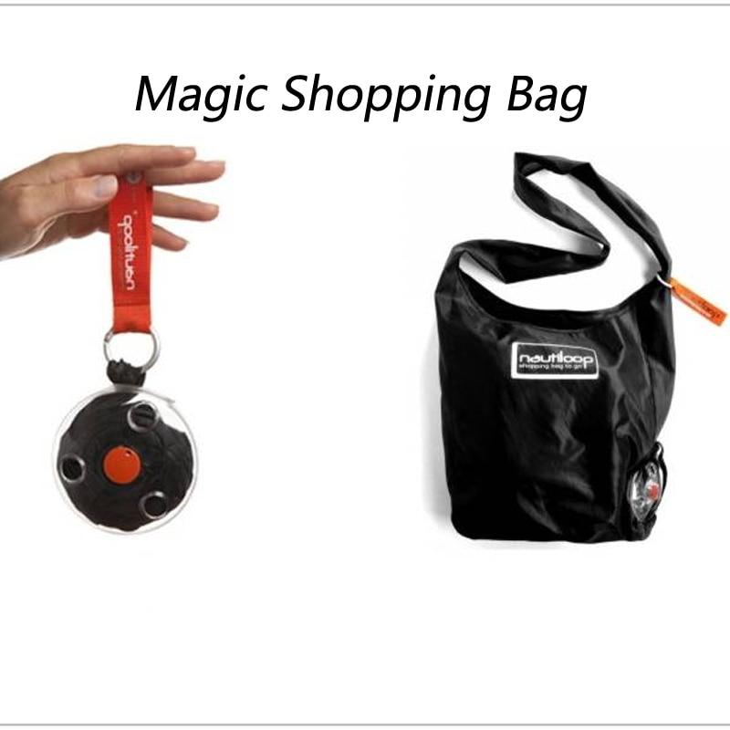 Portable Foldable Shopping Bag With Carabiner Magic Travel Tote Pouch Handbag Reusable Folding Eco Shoulder Bags Organizer