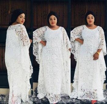 New African Fashion Women's Guipure Cord Lace Abaya Stylish KWA Dashiki Inside Skirt And Loose Long Dress 2-Piece Free Size - white3, One Size