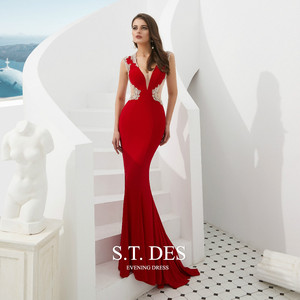 Image 3 - Formal dress 2020 Summer S.T.DES Hot Sexy Illusion Red V Neck Crystal Beaded Sheer Cutaway Sides Long Mermaid Evening Dress