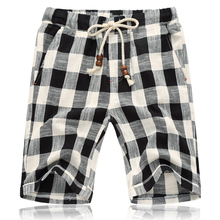Plaid shorts fashion mens linen summer check cotton casual loose stretch large size M-5XL