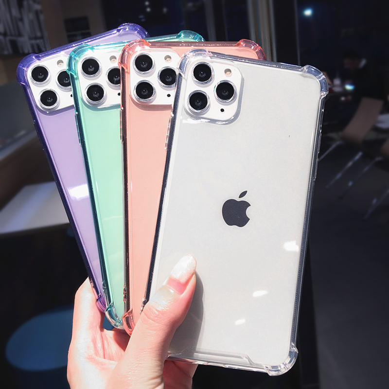 Funda protectora a prueba de golpes XBXCase Candy Color para iPhone 11 Pro 6 6S 7 8 Plus Funda transparente suave para iPhone Xs MAX XR X SE 2 SE2