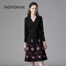 Женское платье средней длины taoyizhuai черное с вышивкой расширенное
