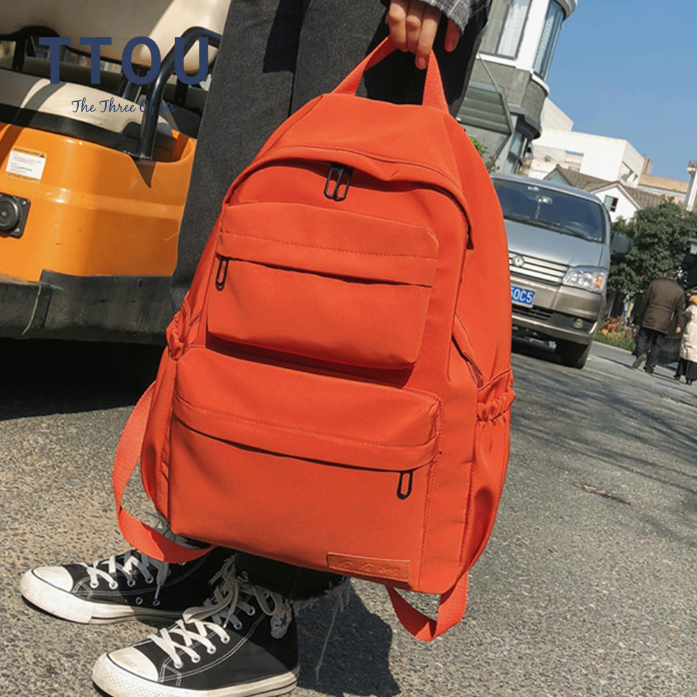 Large Capacity Waterproof Nylon Women Backpack Female Multi Bag Pure Color Travel Backpack Schoolbag For Teenage Girls New