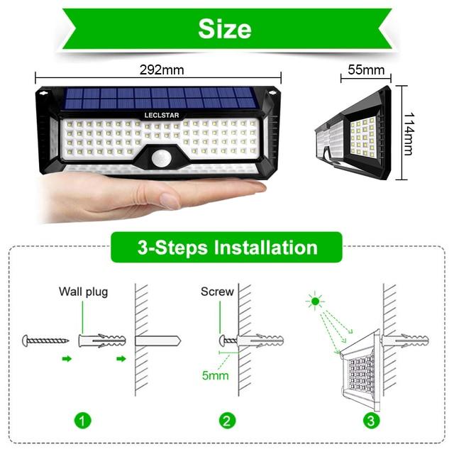 Outdoor Lighting Solar Motion Sensor Light Bulb 268 LED Solar Power Lamp Waterproof for Garden Decoration Street Security Lights 2