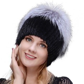Middle aged women in the winter: mink fur women's knitted sweater hat new fashion European and American cat style ski caps 2
