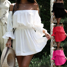Sexy Off Shoulder Slash Neck Party Dress Women Solid Long Sleeve Autumn Dress 2019 New Fashion Loose Casual Beach Vestidos Robe sexy off shoulder slash neck long women dress fashion floral short sleeve summer dress loose maxi beach vestido party robe femme