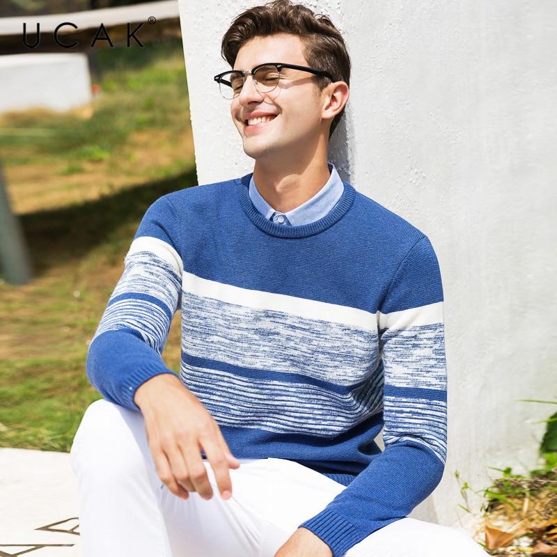 UCAK Brand Sweater Men Shirt Collar Twinset Pull Homme Autumn Winter Thick Knitwear Pullover Men Soft Cotton Jersey Hombre U1006
