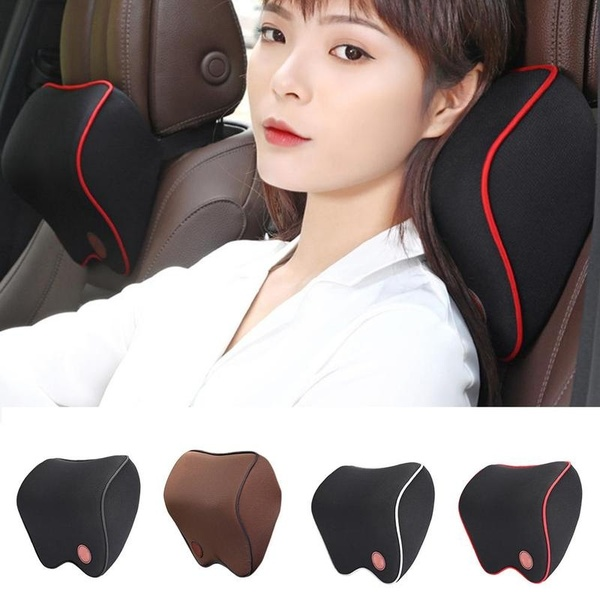 Car Seat Headrest Pad Memory Foam Travel Head Neck Rest Cushion Auto Mesh Pillow