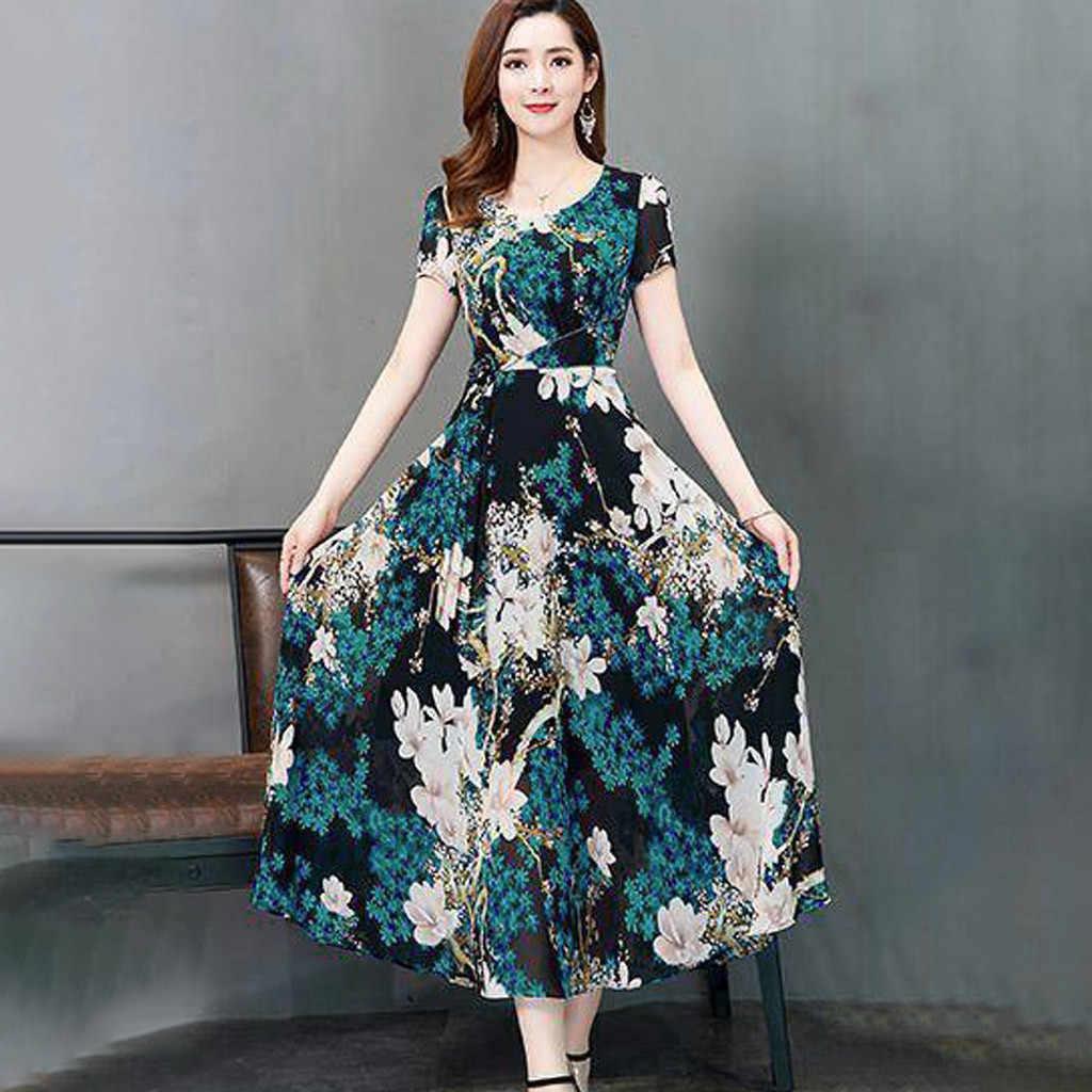 # Z25 Mode Bloem Print Slim Vrouwen Jurk Zomer O-hals Fit Slim Korte Mouwen Dames Jurken Strand Boho Lange Zonnejurk vestidos